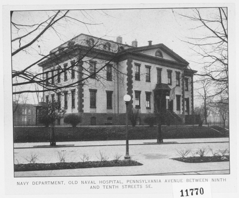 Undated photograph of the Northeast corner of the Old Naval Hospital, taken from the  intersection of Pennsylvania Avenue SE and Tenth Street SE