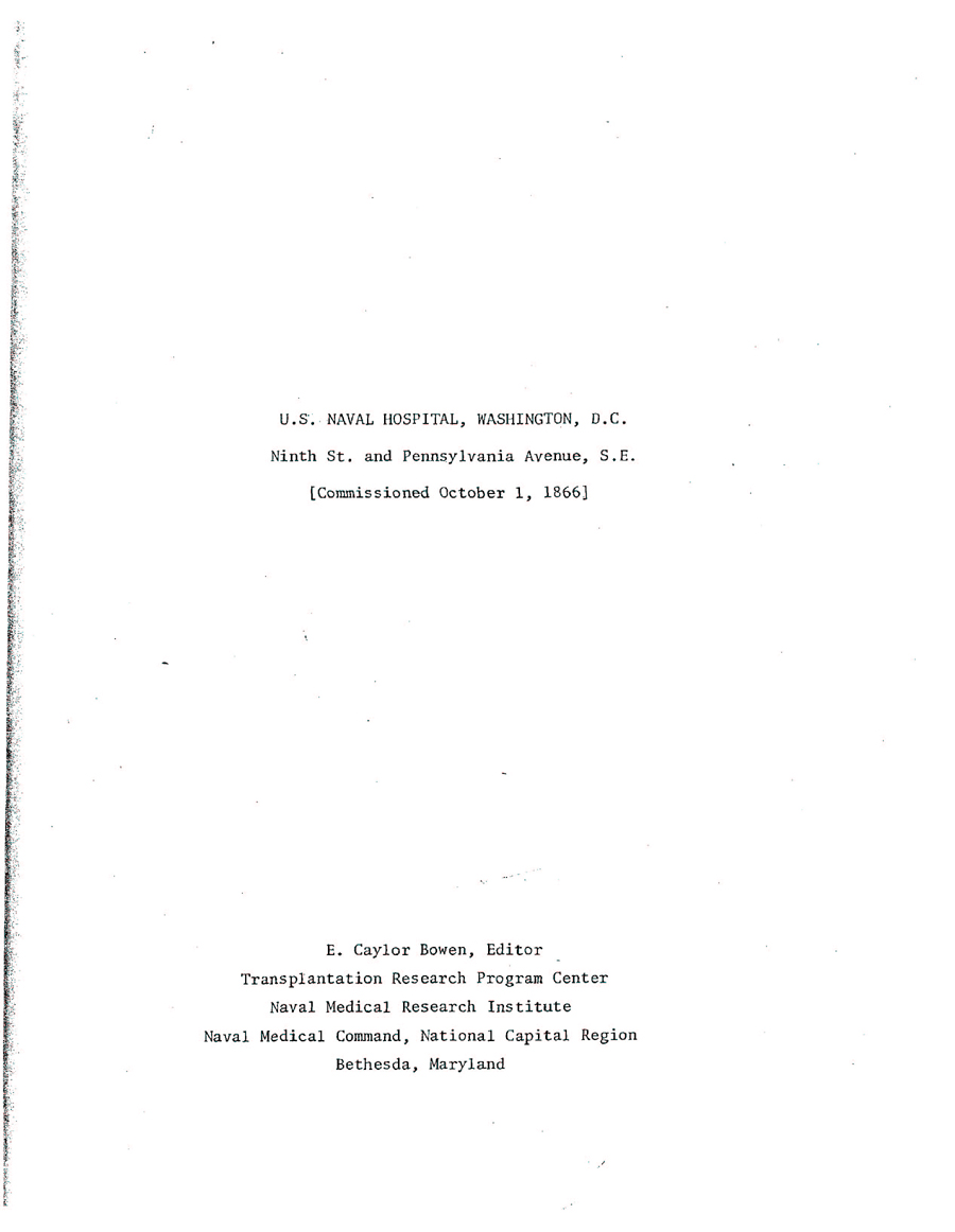 Title page of U.S. NAVAL HOSPITAL, WASHINGTON, D.C. by E. Caylor Bowen