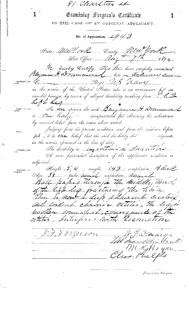 1872 Examining Surgeon's Certificate in the Case of an Original Applicant for Benjamin  Drummond (Page 2 of 2 pages). This is a digital copy of an original document held by the  National Archives.