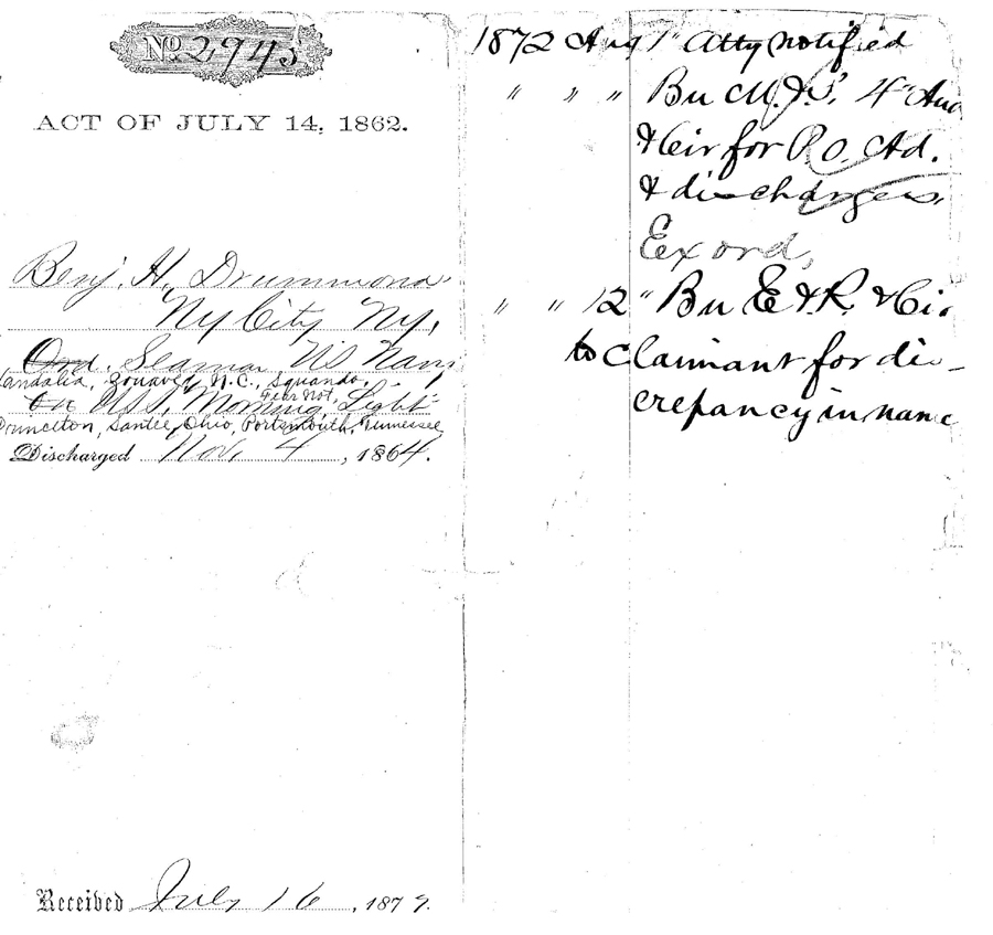 Pension Form No. 2943, filed July 16, 1872, showing some of the issues in the processing of  the application for a pension by Benjamin Drummond. This is a digital copy of the original  record held by the National Archives.