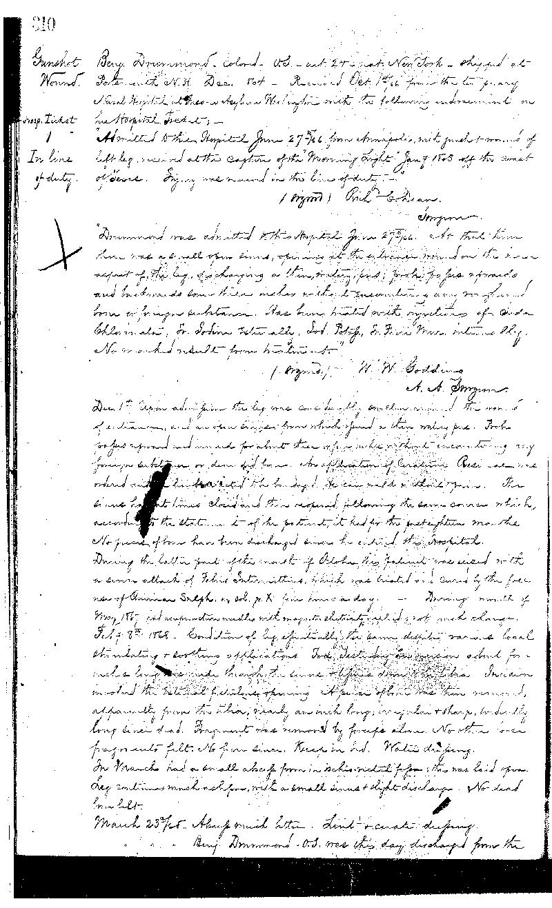 This is the second of three pages detailing the treatment received by Benamin Drummond,  the first patient admitted into the Naval Hospital, Washington City, when it opened on  October 1, 1866. He was discharged from the Navy and the Hospital on March 23, 1868.  The National Archives holds the records of patients admitted and treated at the Naval  Hospital, Washington City, from 1866 to 1906 in Record Group 52, logs of hospitals,  1861-1875 (11W3 3-29-D)