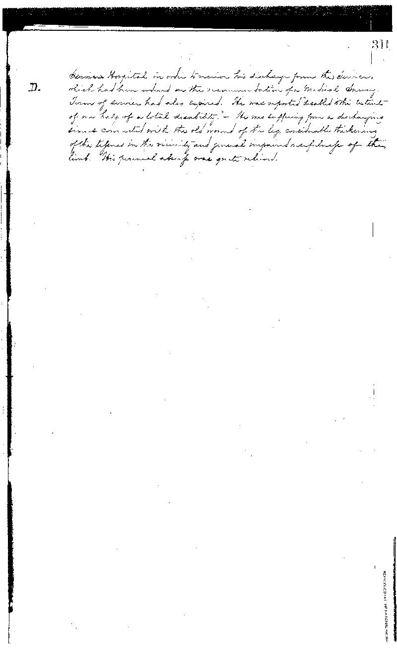 This is the third of three pages detailing the treatment received by Benamin Drummond,  the first patient admitted into the Naval Hospital, Washington City, when it opened on  October 1, 1866. He was discharged from the Navy and the Hospital on March 23, 1868.  The National Archives holds the records of patients admitted and treated at the Naval  Hospital, Washington City, from 1866 to 1906 in Record Group 52, logs of hospitals,  1861-1875 (11W3 3-29-D)