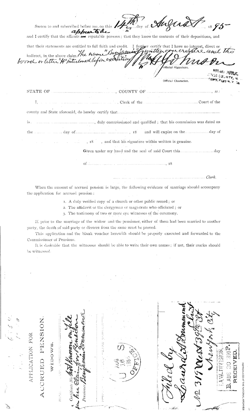 This is the first page of the Application for Accrued Pension - Widows -  filed August 14, 1895, by Laura A. Drummond following the death of her husband - Benamin Drummond (the first patient admitted into the Naval Hospital, Washington City, when it opened on October 1, 1866). At this time she lived at No. 319 West 39th Street, New York City. This is a digital copy of the original record at the National Archives.