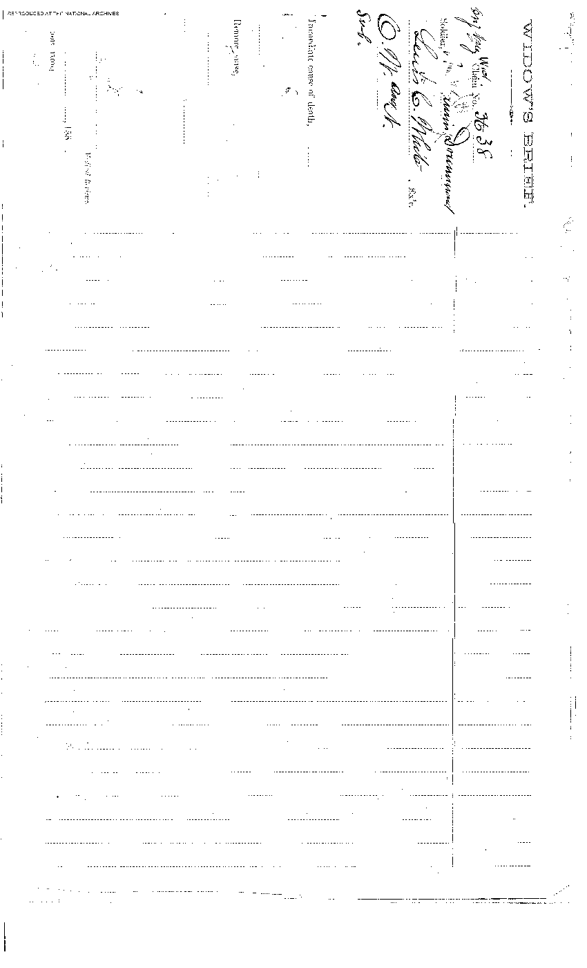 This is the first page of the four page Widows Brief filed by Laura A.  Drummond following the death of her husband -Benamin Drummond (the first patient  admitted into the Naval Hospital,Washington City, when it opened on October 1, 1866).  At this time she lived at No. 319 West 39th Street, New York City. This is a digital  copy of the original record held by the National Archives.