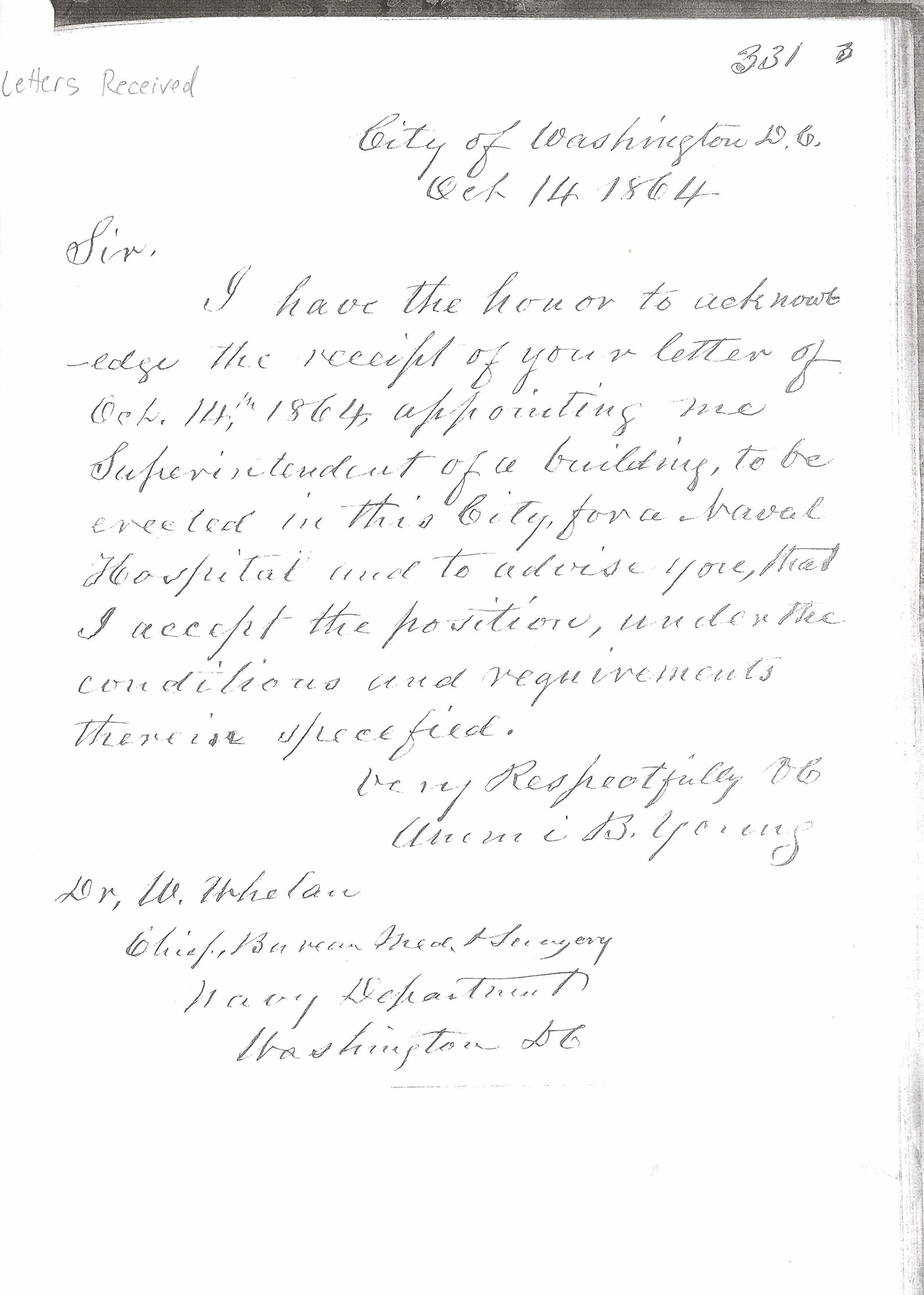 of ammi b young accepting appointment as superintendent of letter of ammi b young accepting appointment as superintendent of construction 14 1864