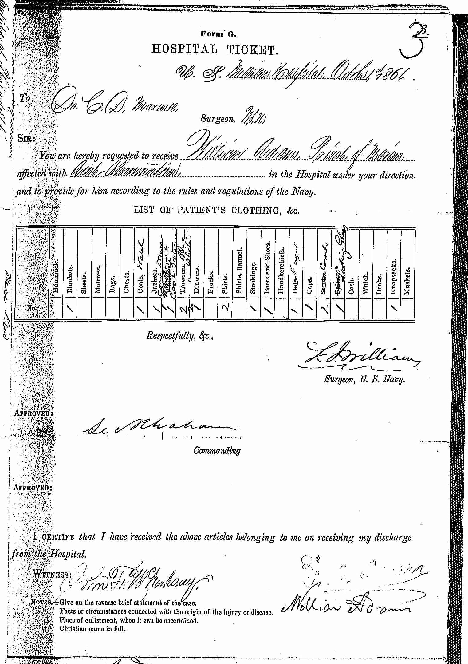 Entry for William Adams (page 1 of 2) in the log Hospital Tickets and Case Papers - Naval Hospital - Washington, D.C. - 1865-68