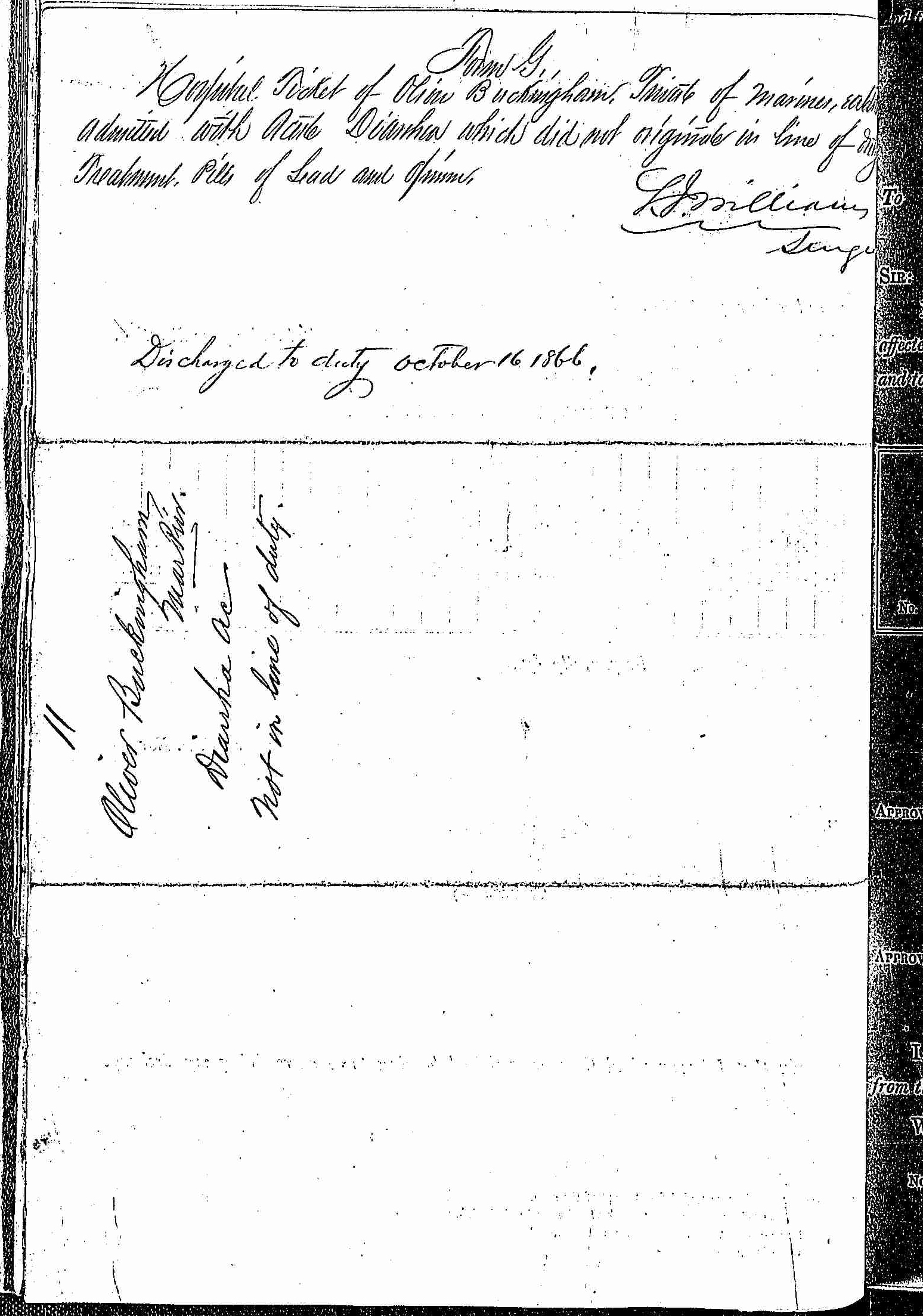 Entry for Oliver Buckingham (page 2 of 2) in the log Hospital Tickets and Case Papers - Naval Hospital - Washington, D.C. - 1865-68