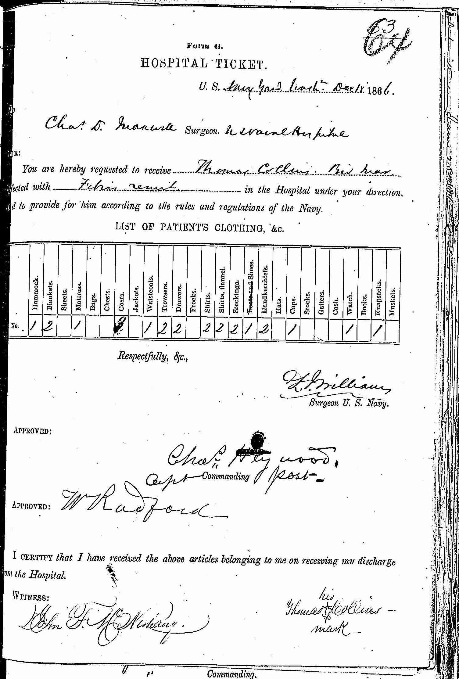 Entry for Thomas Collins (first admission page 1 of 2) in the log Hospital Tickets and Case Papers - Naval Hospital - Washington, D.C. - 1865-68