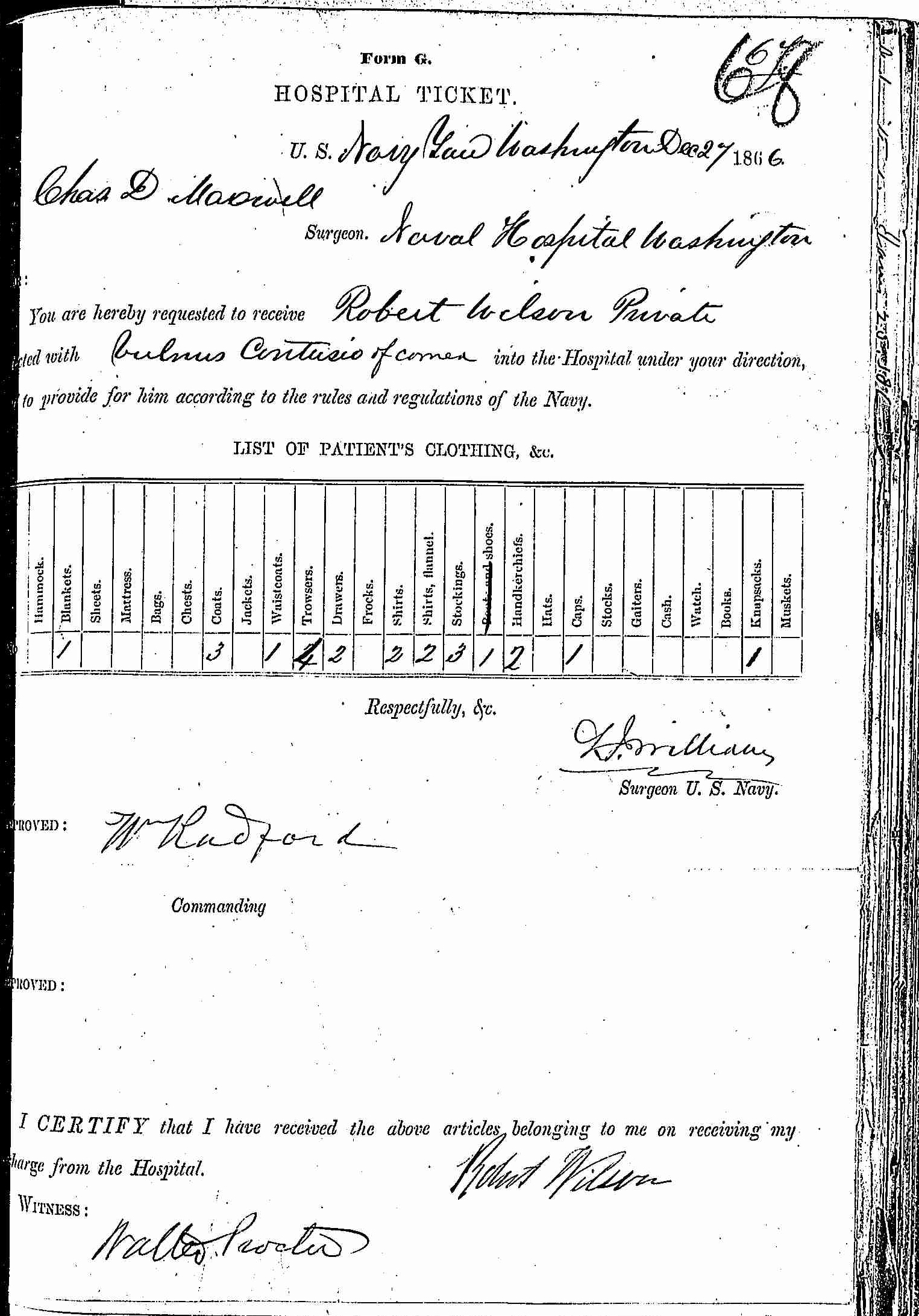 Entry for Robert Wilson (page 1 of 2) in the log Hospital Tickets and Case Papers - Naval Hospital - Washington, D.C. - 1865-68