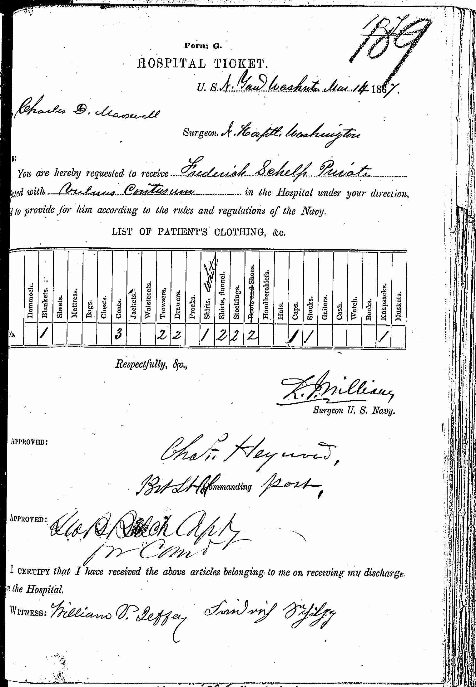 Entry for William Cathcart (page 1 of 2) in the log Hospital Tickets and Case Papers - Naval Hospital - Washington, D.C. - 1866-68