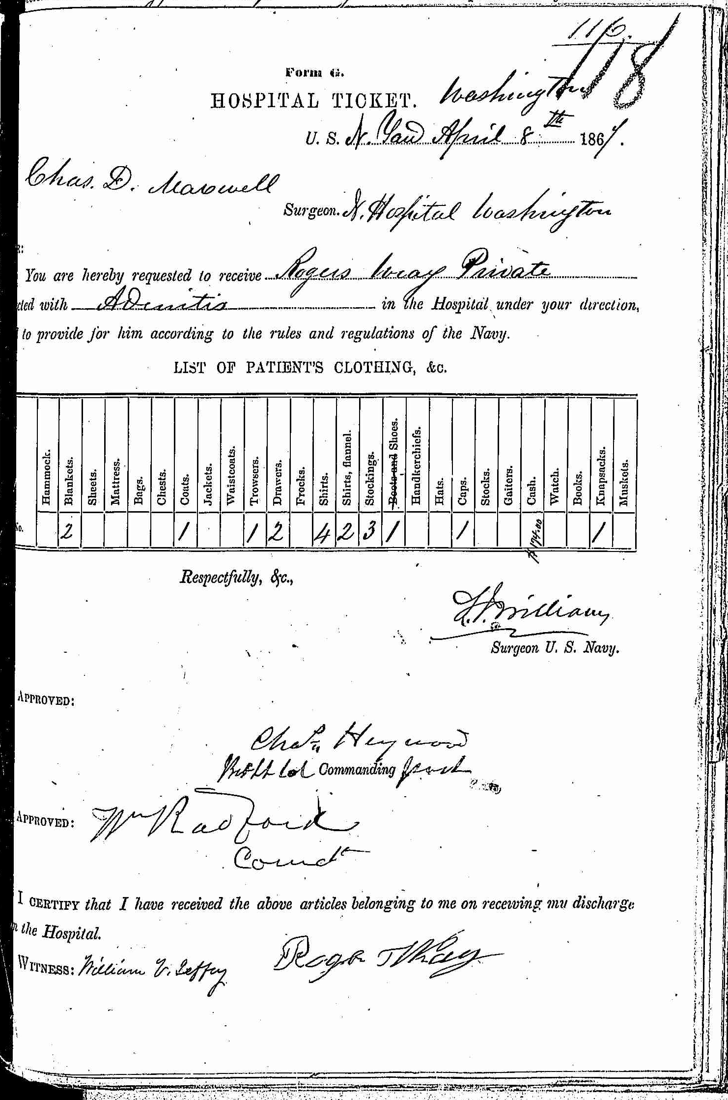 Entry for Rogers Wray (first admission page 1 of 2) in the log Hospital Tickets and Case Papers - Naval Hospital - Washington, D.C. - 1866-68