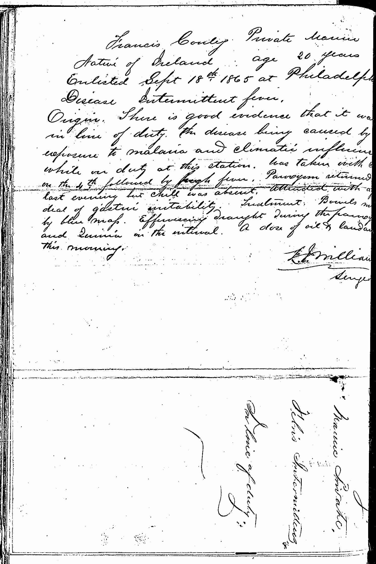 Entry for Francis Conley (page 2 of 2) in the log Hospital Tickets and Case Papers - Naval Hospital - Washington, D.C. - 1866-68