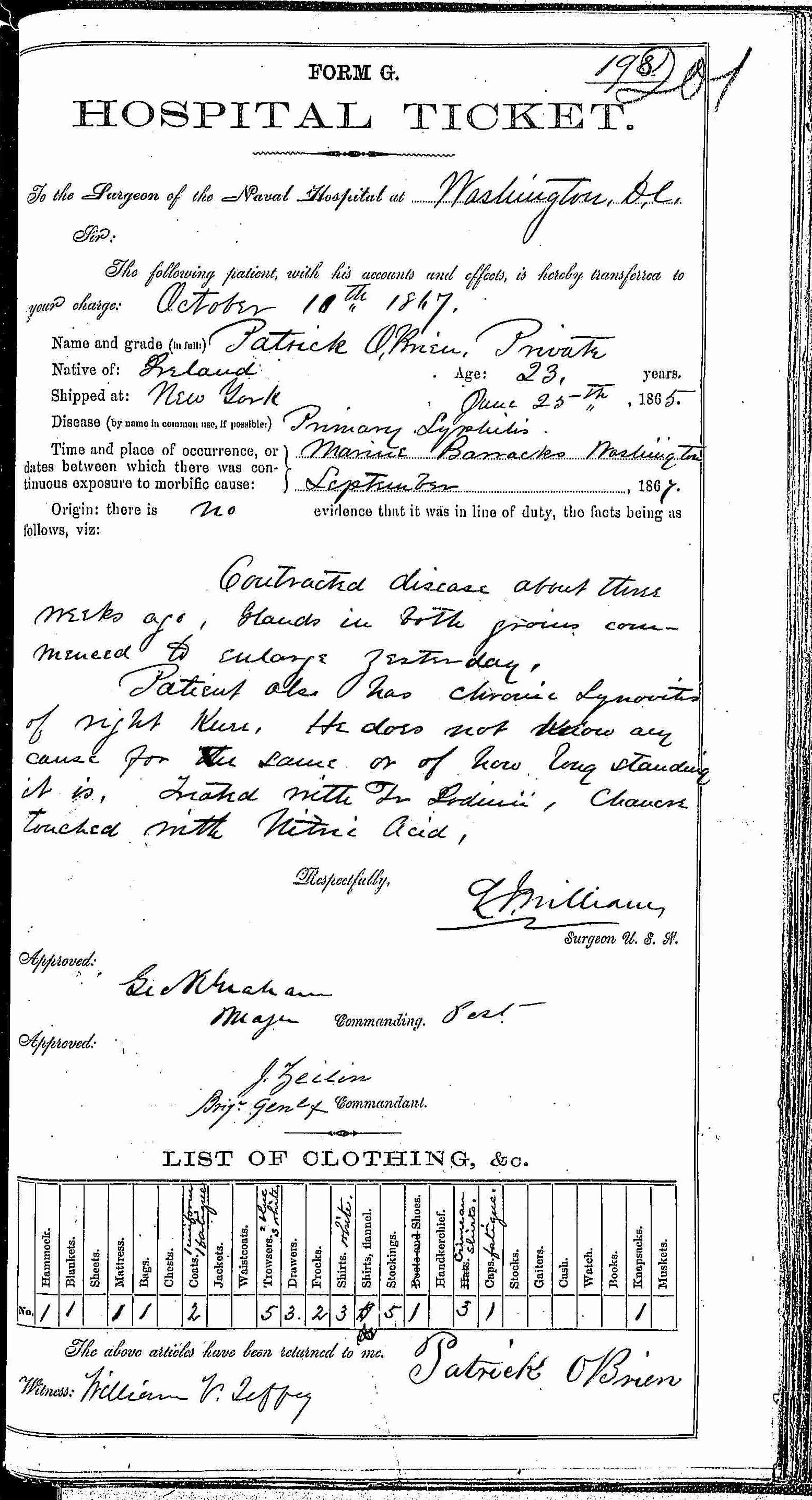 Entry for Patrick O'Brien (page 1 of 2) in the log Hospital Tickets and Case Papers - Naval Hospital - Washington, D.C. - 1866-68