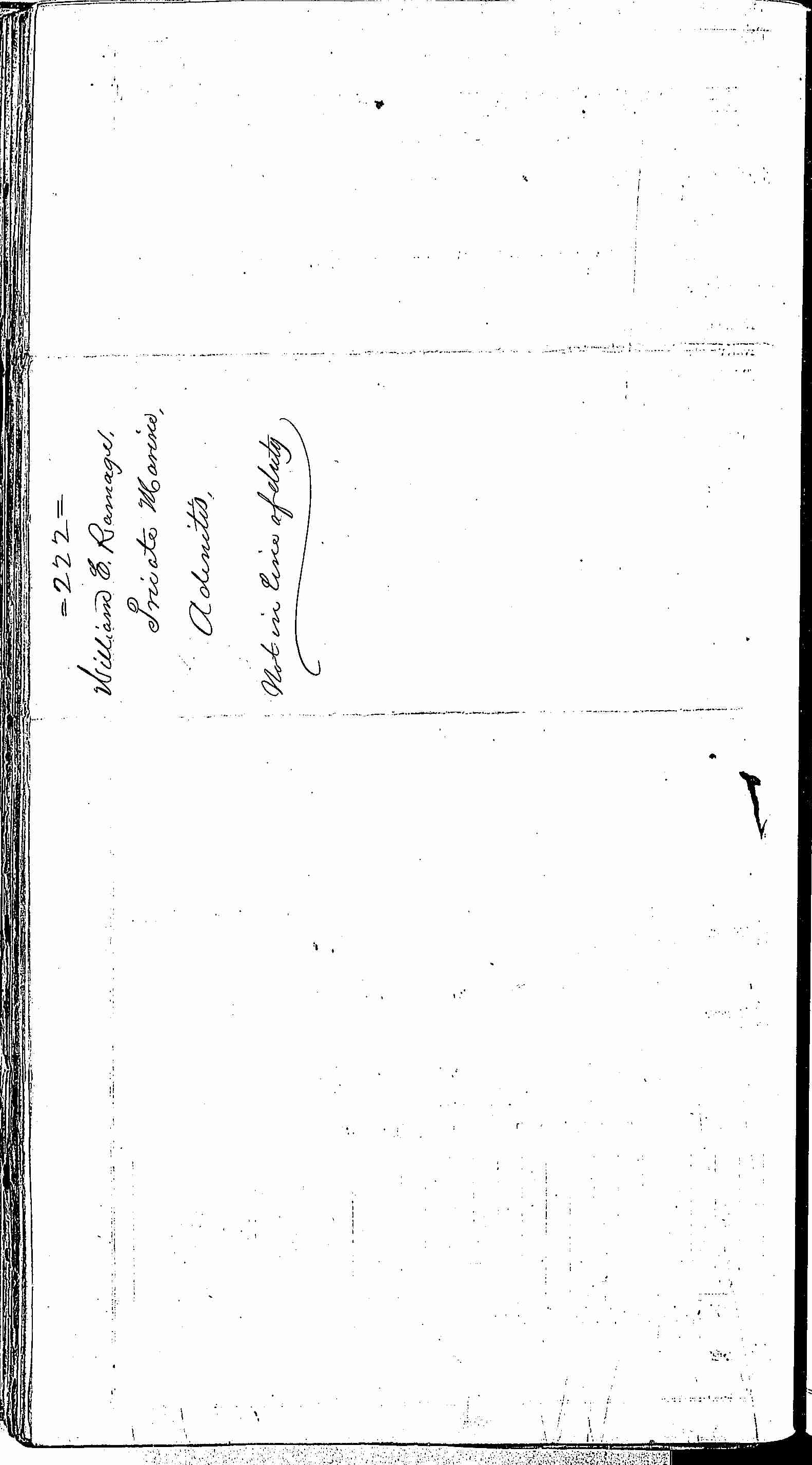 Entry for William E. Ramage (page 2 of 2) in the log Hospital Tickets and Case Papers - Naval Hospital - Washington, D.C. - 1866-68
