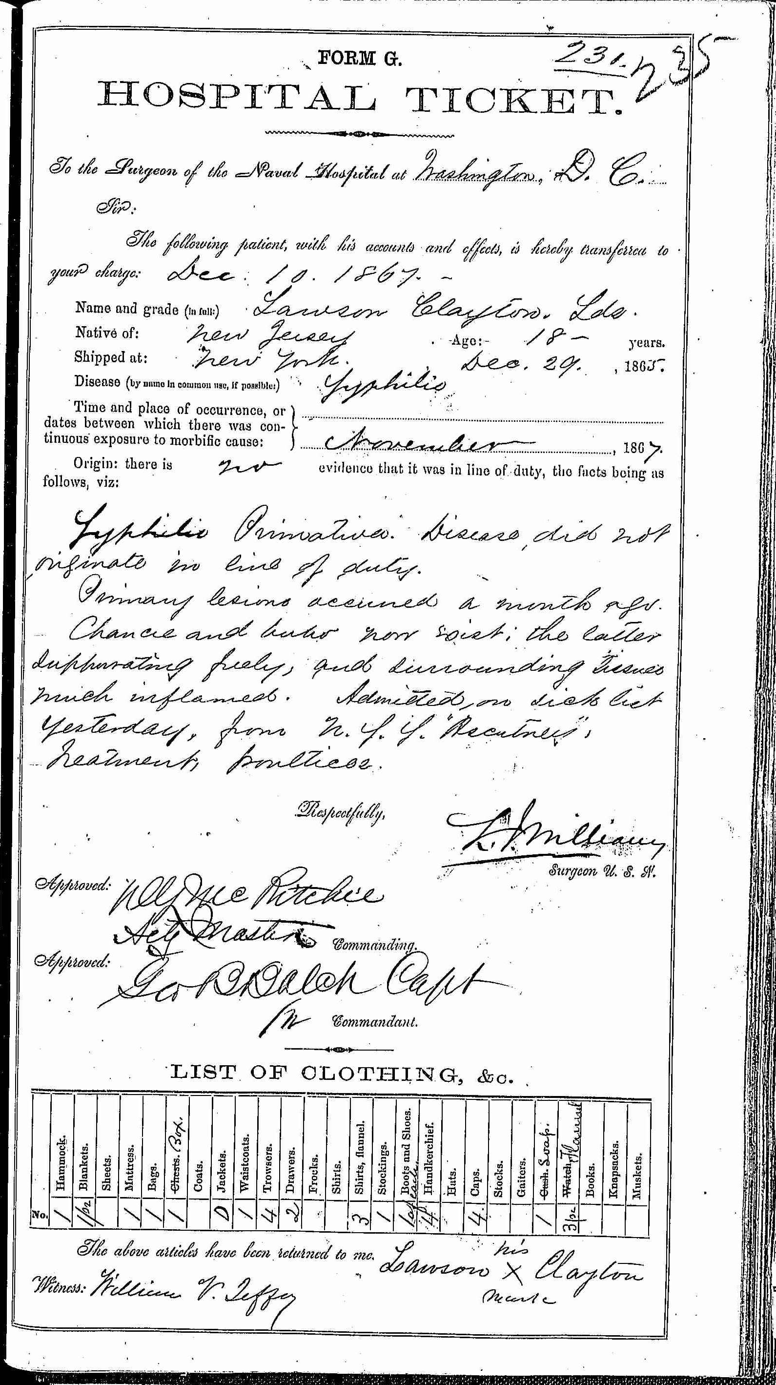 Entry for Lawson Clayton (page 1 of 2) in the log Hospital Tickets and Case Papers - Naval Hospital - Washington, D.C. - 1866-68