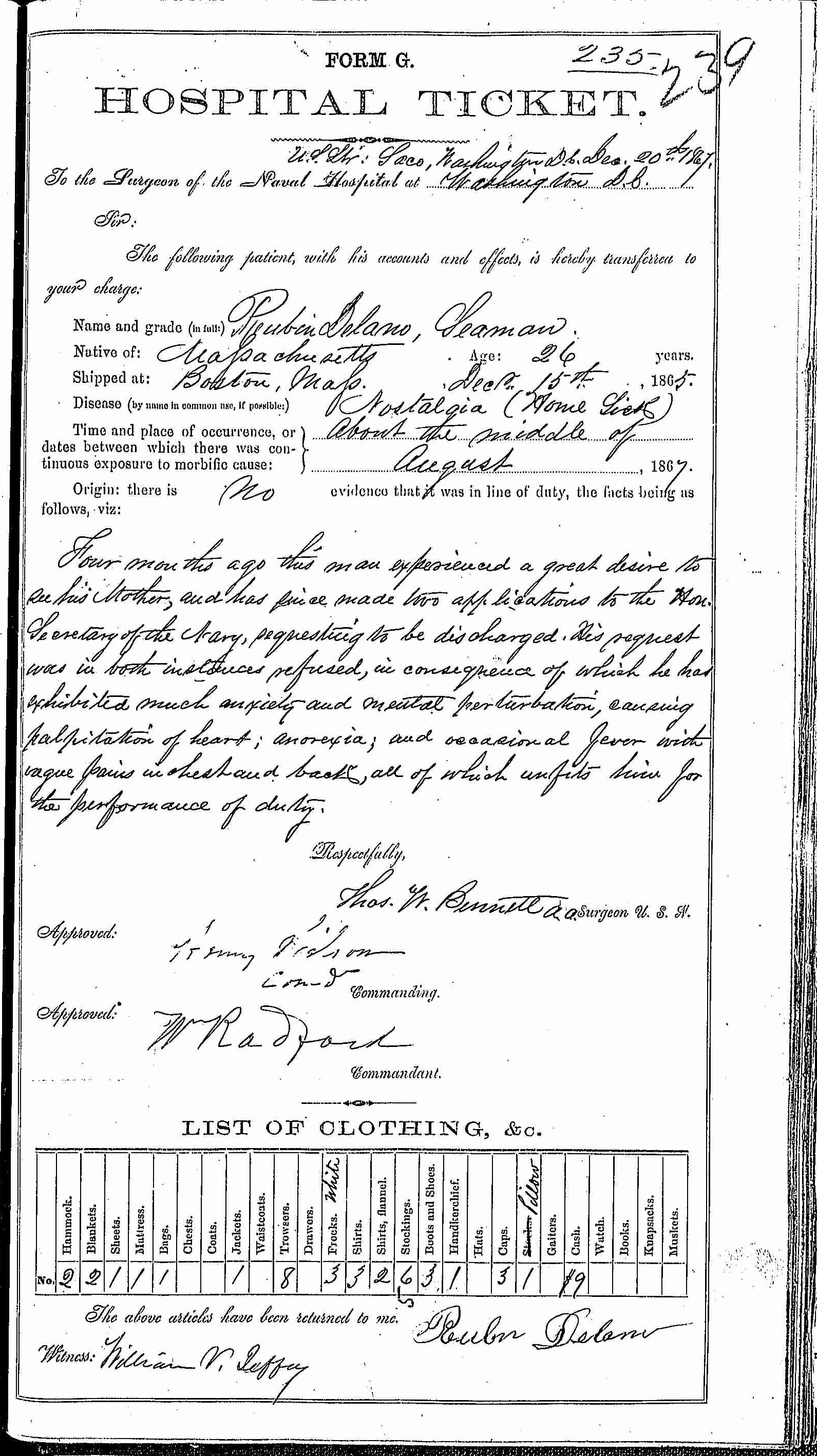 Entry for Reubin Delano (page 1 of 2) in the log Hospital Tickets and Case Papers - Naval Hospital - Washington, D.C. - 1866-68