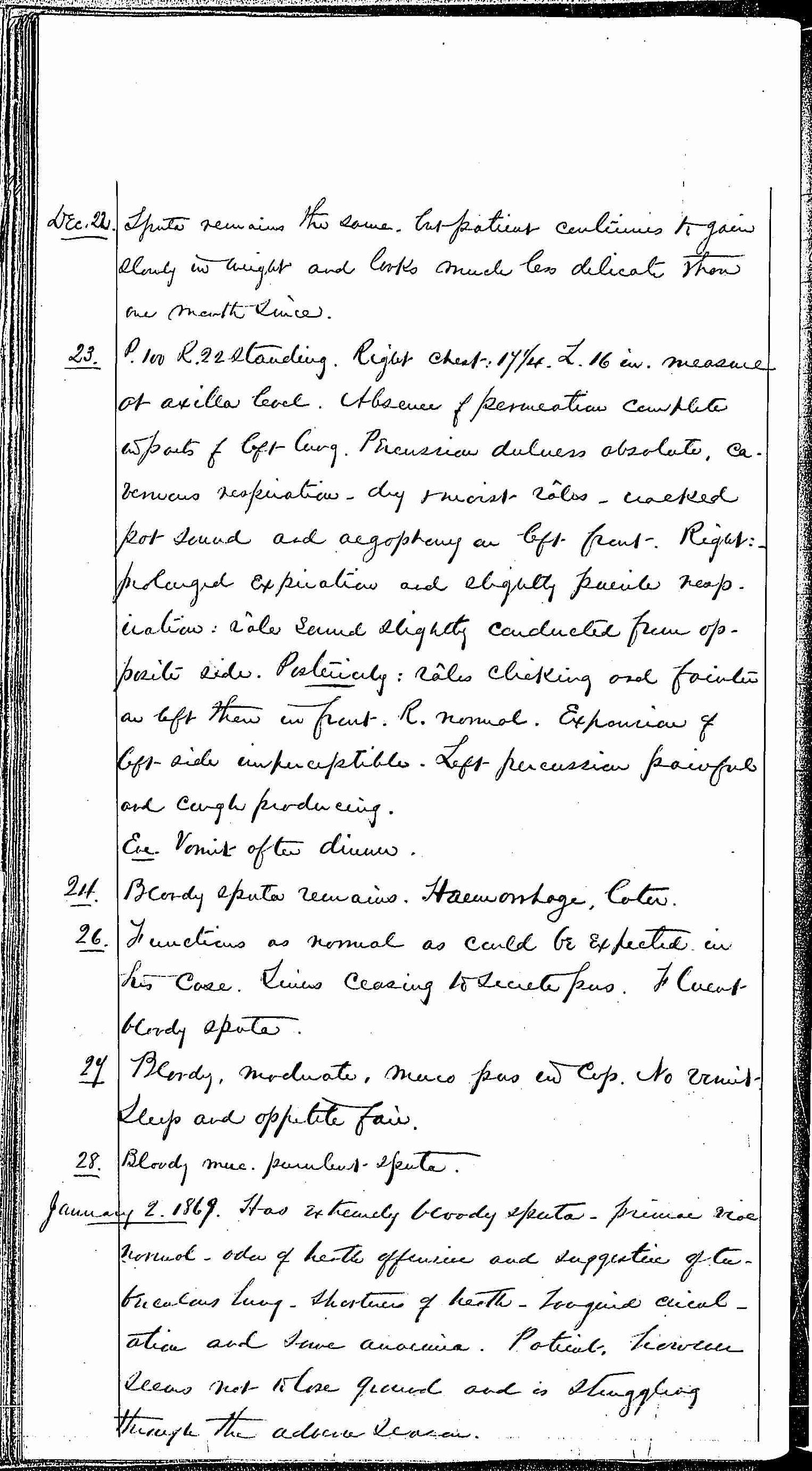 Entry for Bernard Drury (page 22 of 31) in the log Hospital Tickets and Case Papers - Naval Hospital - Washington, D.C. - 1868-69