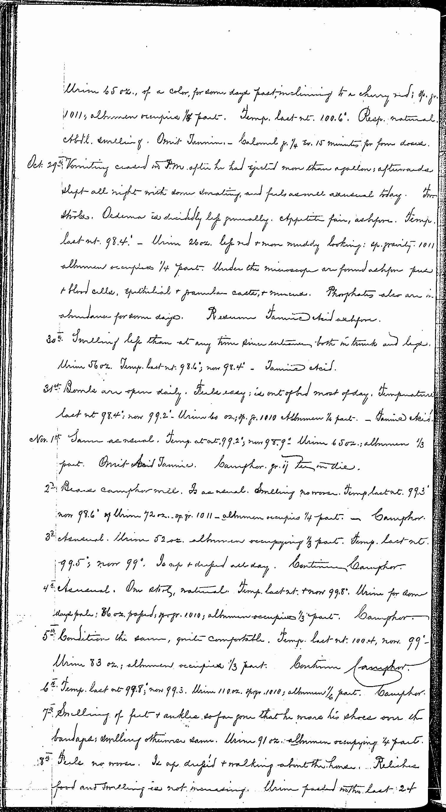 Entry for Bernard Coyne (page 8 of 13) in the log Hospital Tickets and Case Papers - Naval Hospital - Washington, D.C. - 1868-69