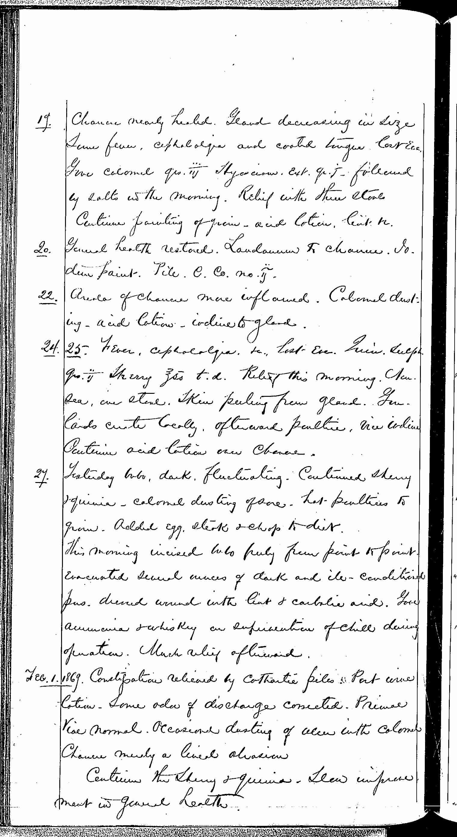 Entry for John H. Denning (first admission page 2 of 9) in the log Hospital Tickets and Case Papers - Naval Hospital - Washington, D.C. - 1868-69