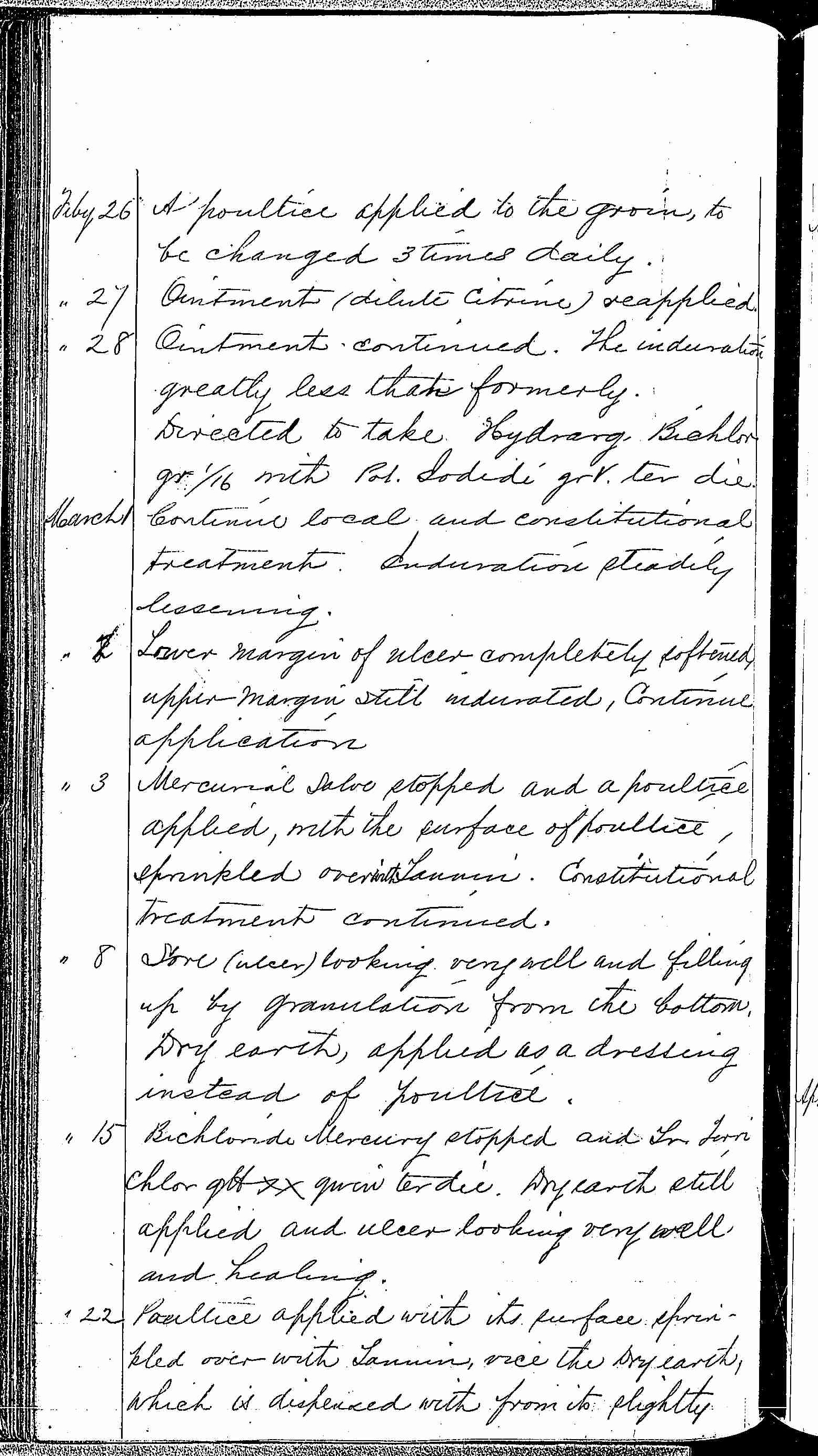 Entry for John H. Denning (first admission page 4 of 9) in the log Hospital Tickets and Case Papers - Naval Hospital - Washington, D.C. - 1868-69