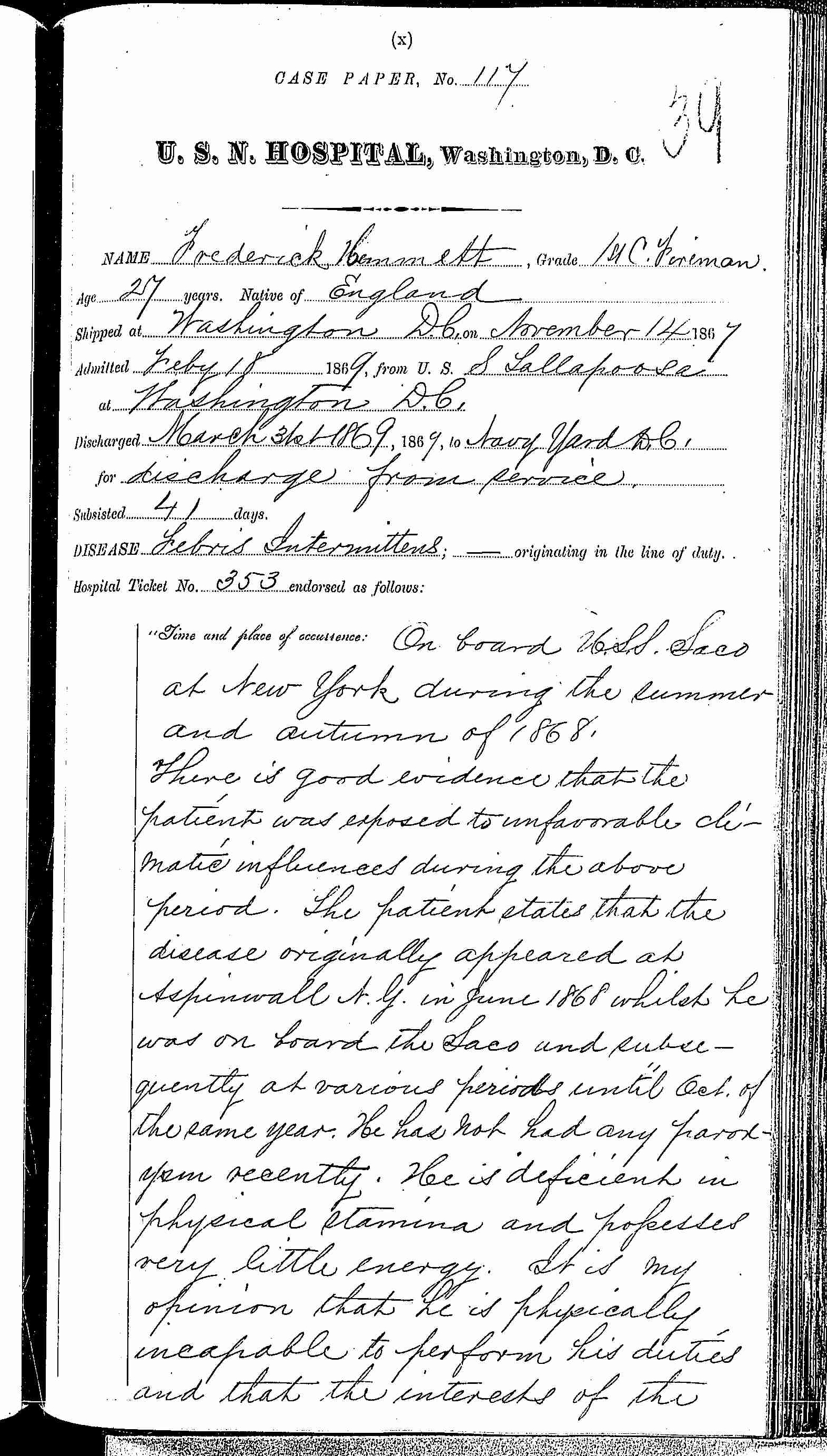 Entry for Frederick Hammett (page 1 of 5) in the log Hospital Tickets and Case Papers - Naval Hospital - Washington, D.C. - 1868-69