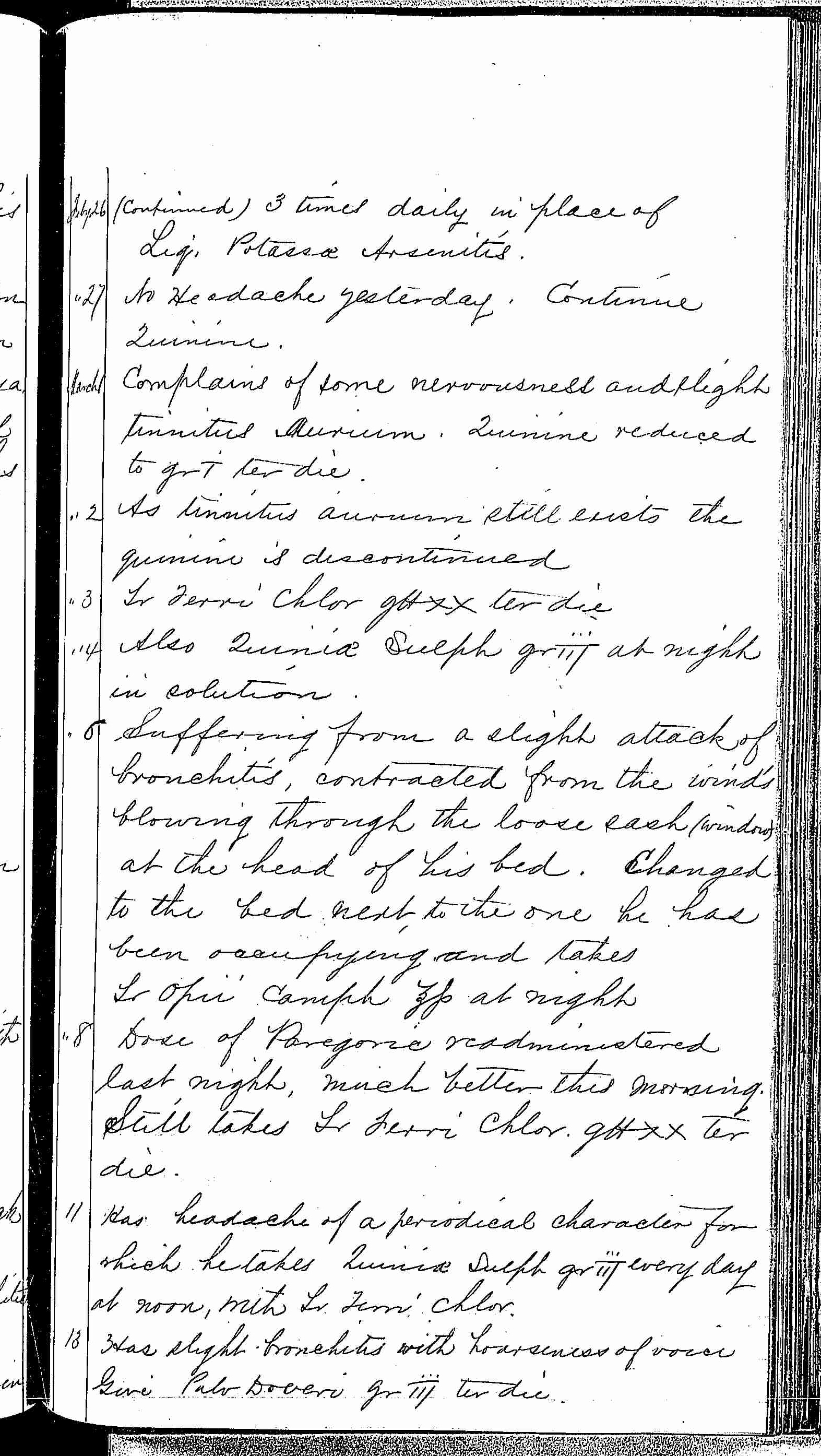 Entry for Frederick Hammett (page 3 of 5) in the log Hospital Tickets and Case Papers - Naval Hospital - Washington, D.C. - 1868-69