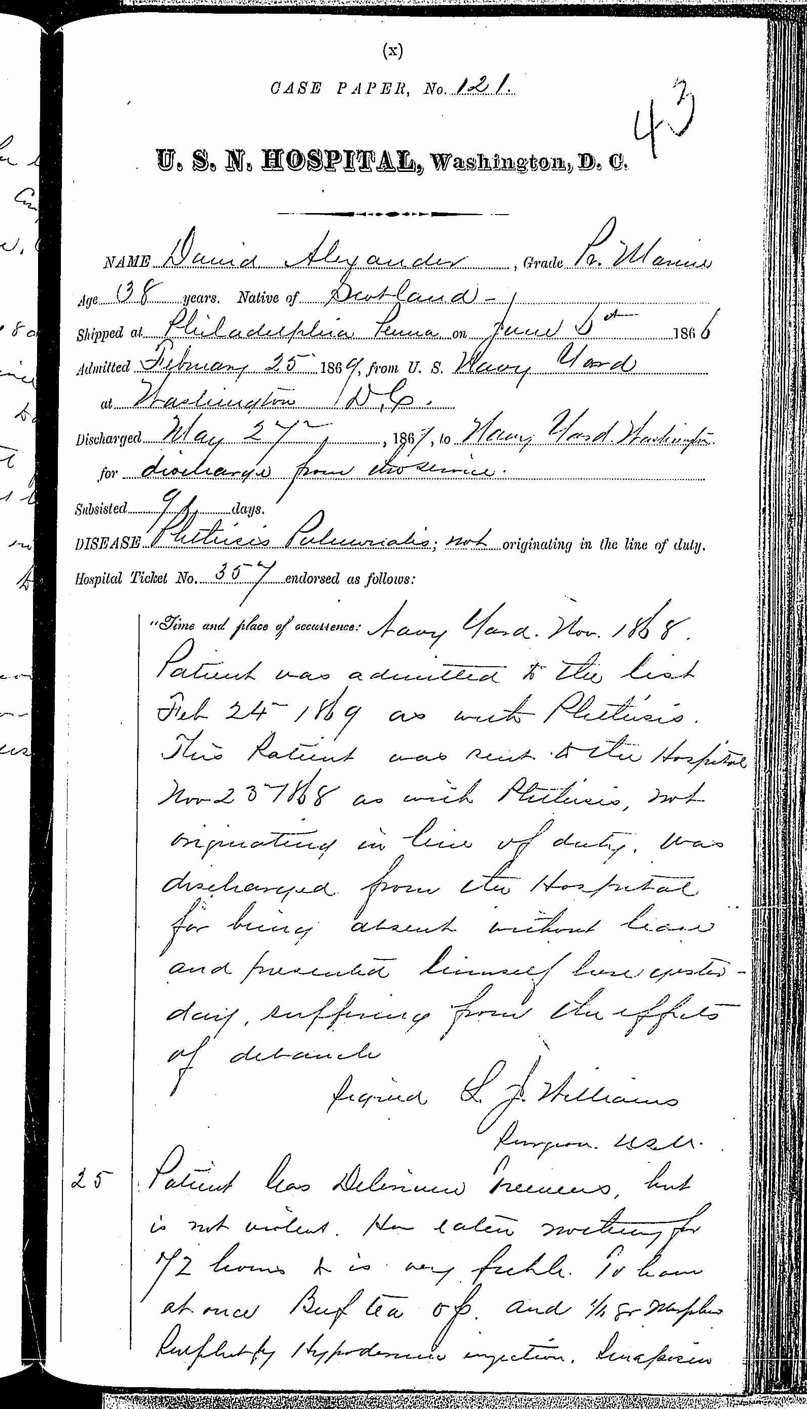 Entry for David Alexander (second admission page 1 of 3) in the log Hospital Tickets and Case Papers - Naval Hospital - Washington, D.C. - 1868-69