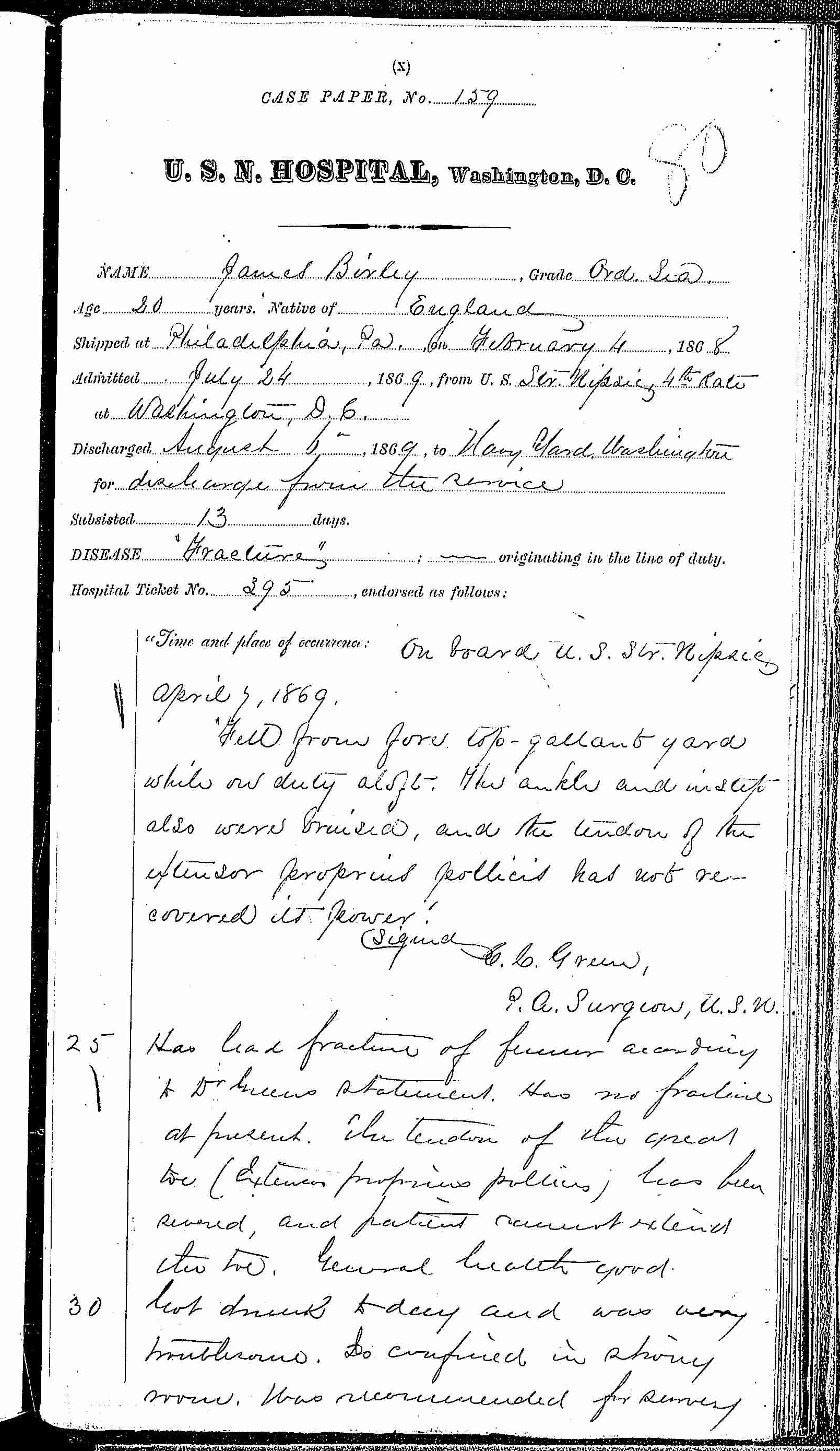 Entry for James Birley (page 1 of 2) in the log Hospital Tickets and Case Papers - Naval Hospital - Washington, D.C. - 1868-69