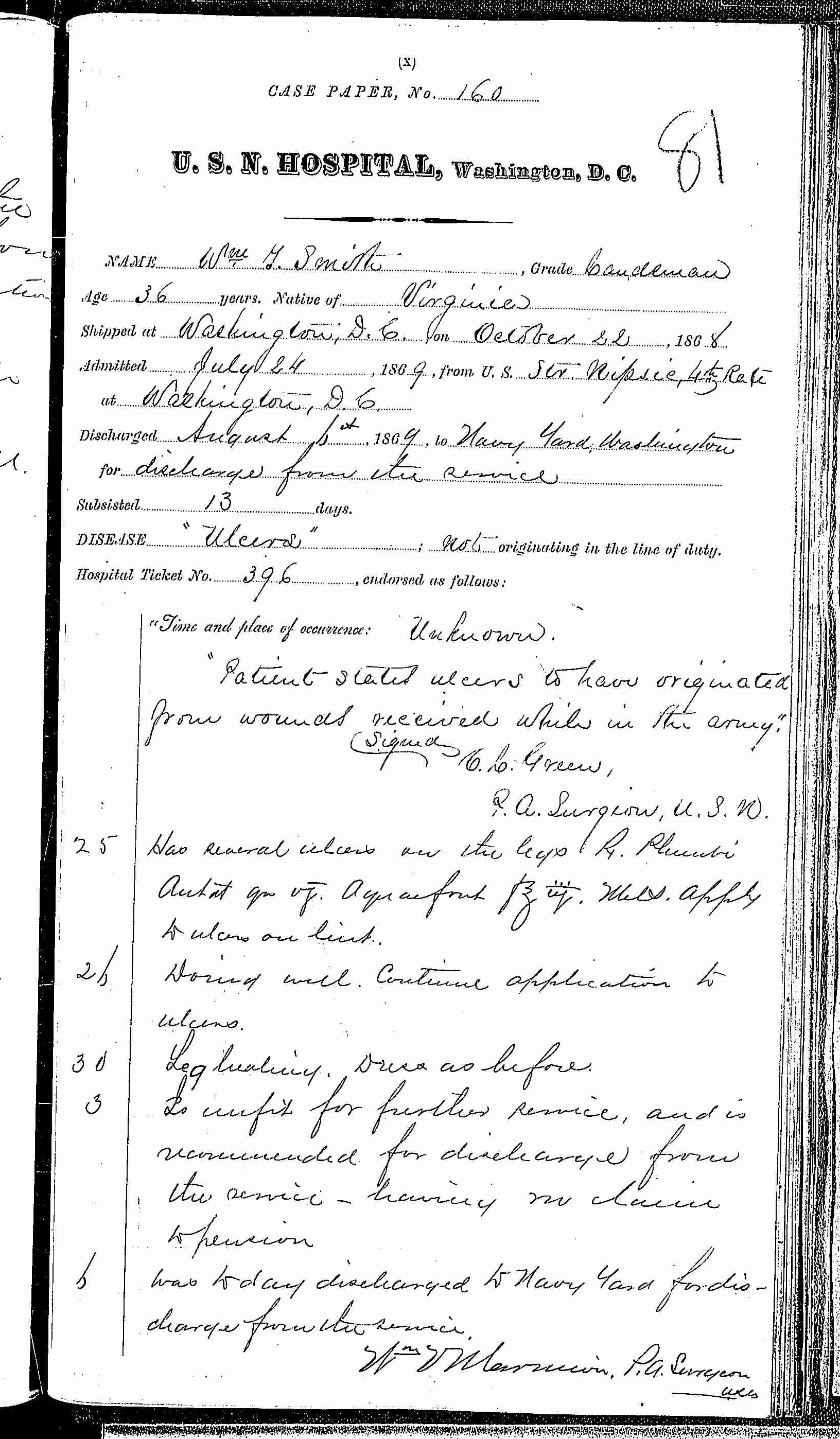 Entry for William T. Smith (page 1 of 1) in the log Hospital Tickets and Case Papers - Naval Hospital - Washington, D.C. - 1868-69
