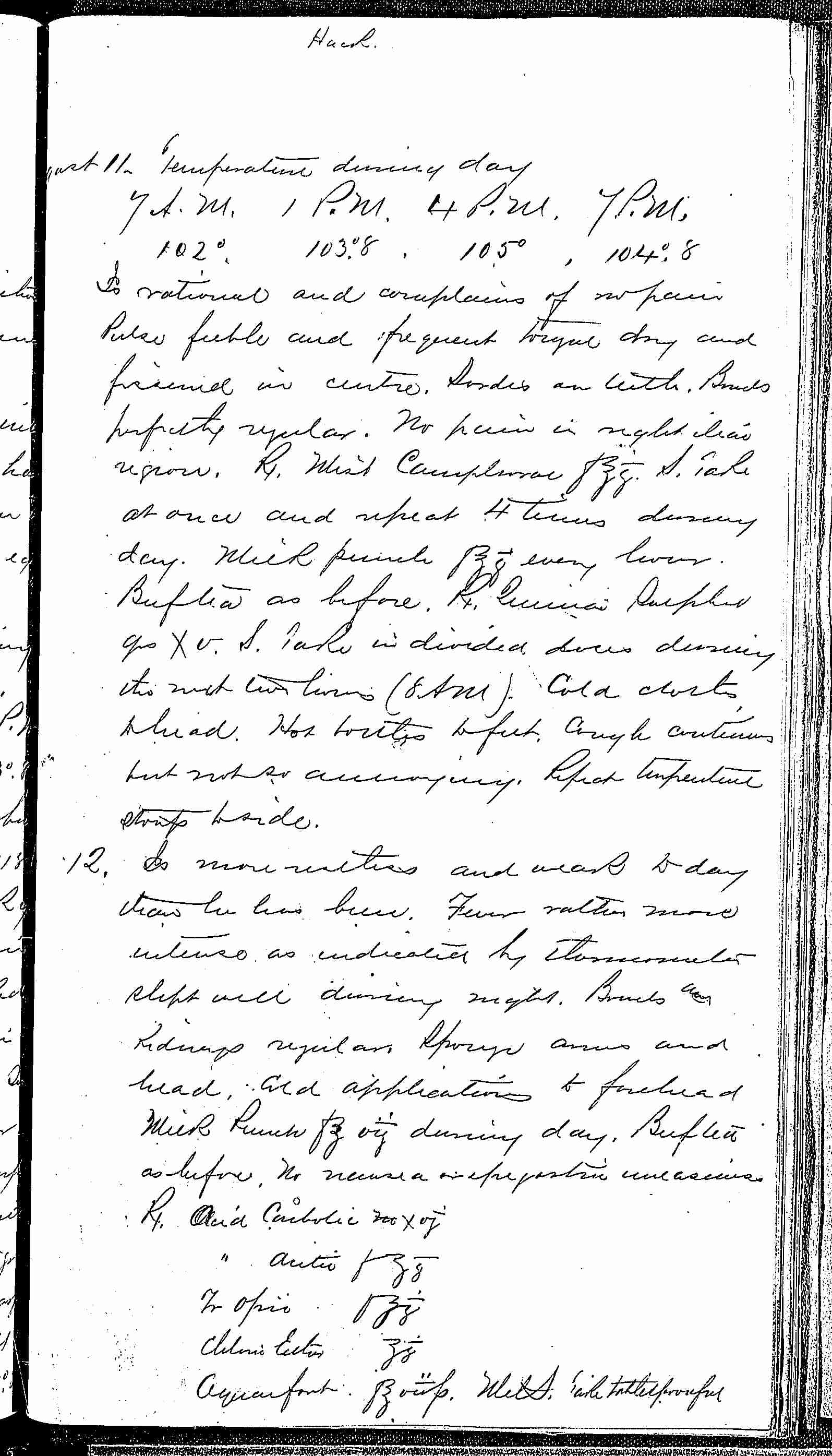 Entry for William Hack (page 5 of 7) in the log Hospital Tickets and Case Papers - Naval Hospital - Washington, D.C. - 1868-69
