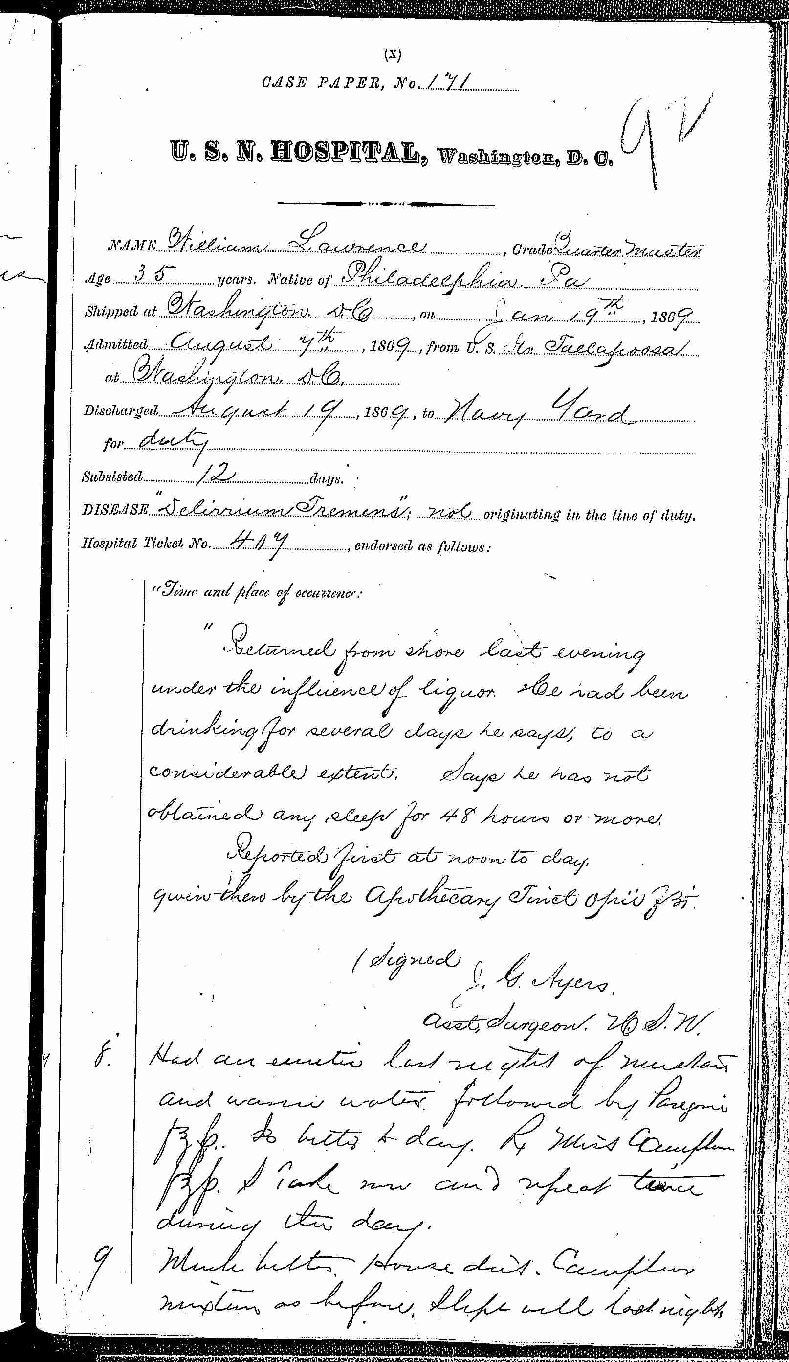Entry for William Laurence (page 1 of 2) in the log Hospital Tickets and Case Papers - Naval Hospital - Washington, D.C. - 1868-69