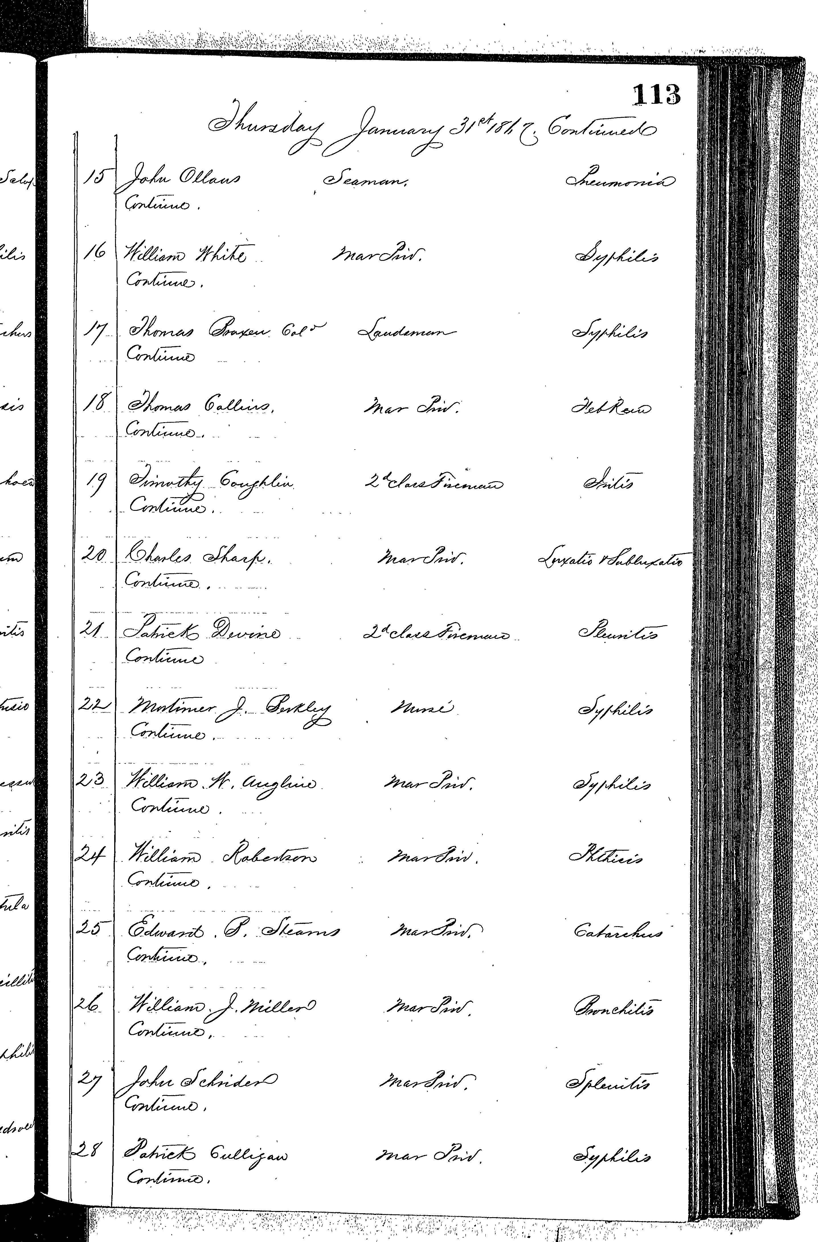 Patients in the Naval Hospital, Washington DC, on January 31, 1867 - Page 2 of 3, in the Medical Journal, October 1, 1866 to March 20, 1867