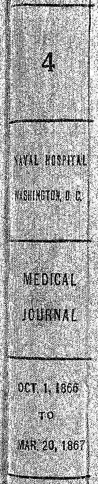 Cover of - 4 - Naval Hospital Washington, D.C. - Medical Journal - OCT. 1, 1866 to MAR. 20, 1867