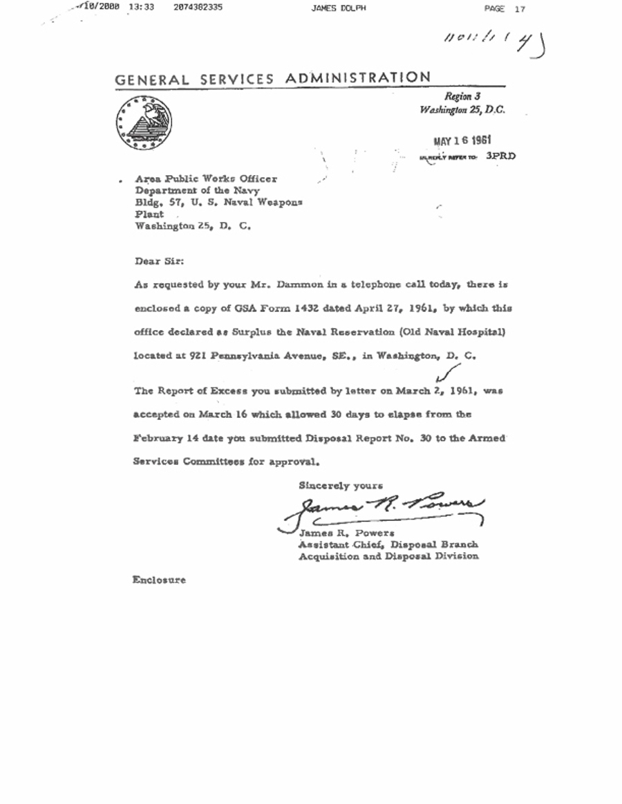 GSA Form 1432, Determination of Surplus, dated April 27, 1961, finding that the Old Naval  Hospital was excess and not required for use by the federal government and could be diposed of  by the General Services Administration.