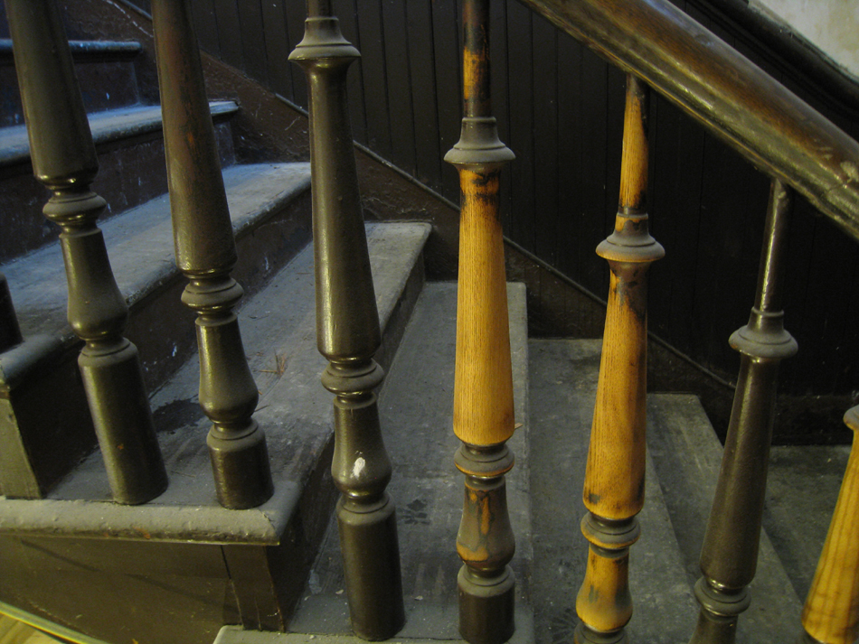 Second Floor - Preliminary Cleaning of Stair Spindles Between Second and Third Floor - September 8, 2010