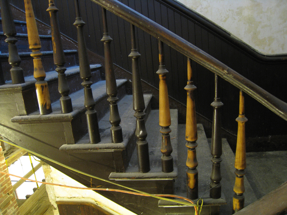 Second Floor - Preliminary Cleaning of Stair Spindles Between Second and Third Floor