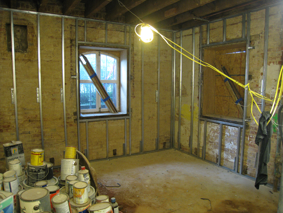 Ground Floor--Framing in southwest corner room