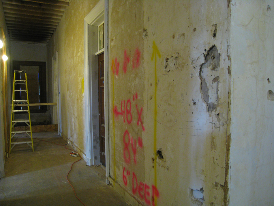 Second Floor--Corridor looking west from center, showing location for electrical box