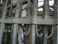 Fence - at G. Krug and Sons - detail of fillets (scrolls) and horizontal bars after sandblasting.