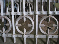Fence - at G. Krug and Sons - detail of circles and spears after sandblasting - September 28, 2010