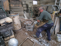 Fence -- Swiss Foundry -- extracting fence elements from cooling molds - September 28, 2010