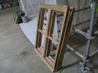 Doors and Windows -- SRS Corp. -- window sashes repaired and ready for preserative then priming (note repairs in Spanish cedar) - September 28, 2010