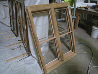 Windows and Doors - SRS Corp. -- repaired window sash (note new Spanish cedar parts).