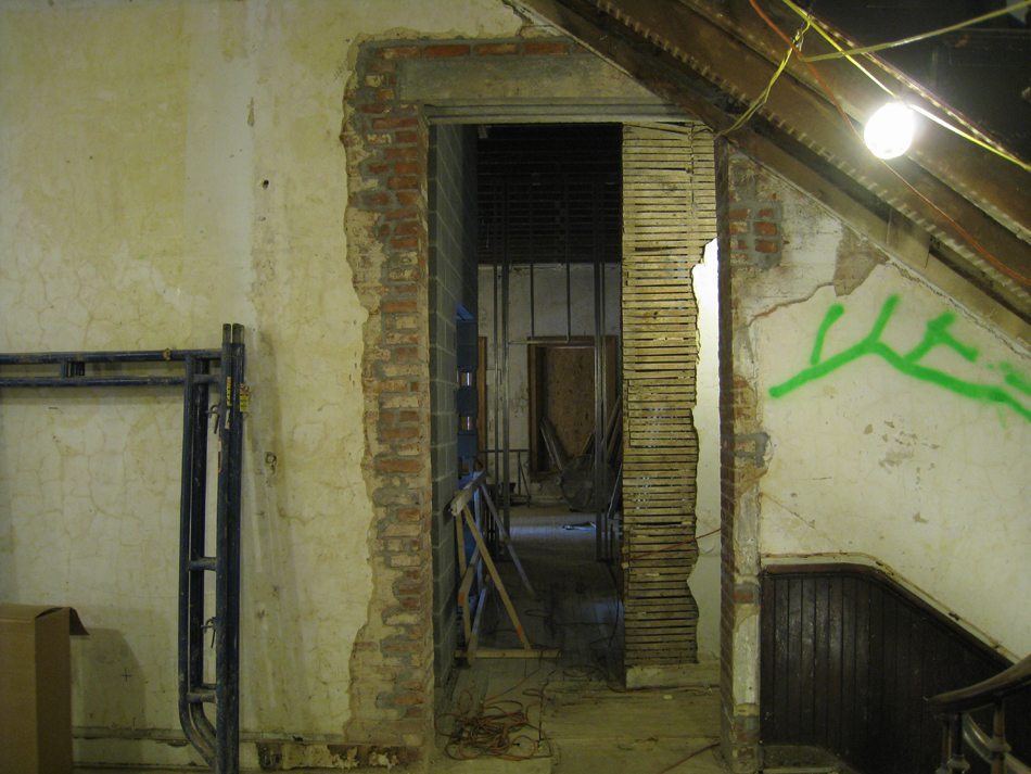 Second Floor--New entrance from corridor under original stairwell to the west