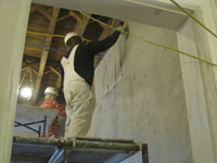 First Floor--Encapsulation step for new plaster in south east corner room - November 8, 2010