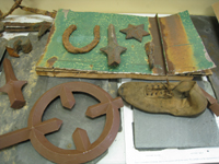 Miscellaneous--Artifacts from the Old Naval Hospital including roof piece - November 17, 2010