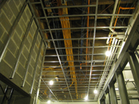 First Floor--Elevator shaft (on left) and ceiling wiring and plumbing - December 28, 2010