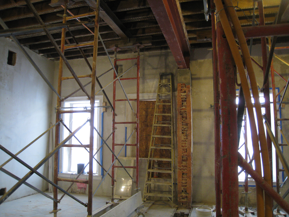 Second Floor--Installed steel beams in central (large) room - January 7, 2011