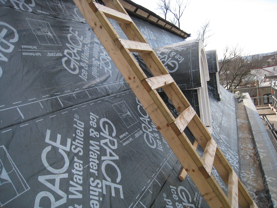 Roof--West Mansard roof with waterproof underlayment, looking south - January 20, 2011