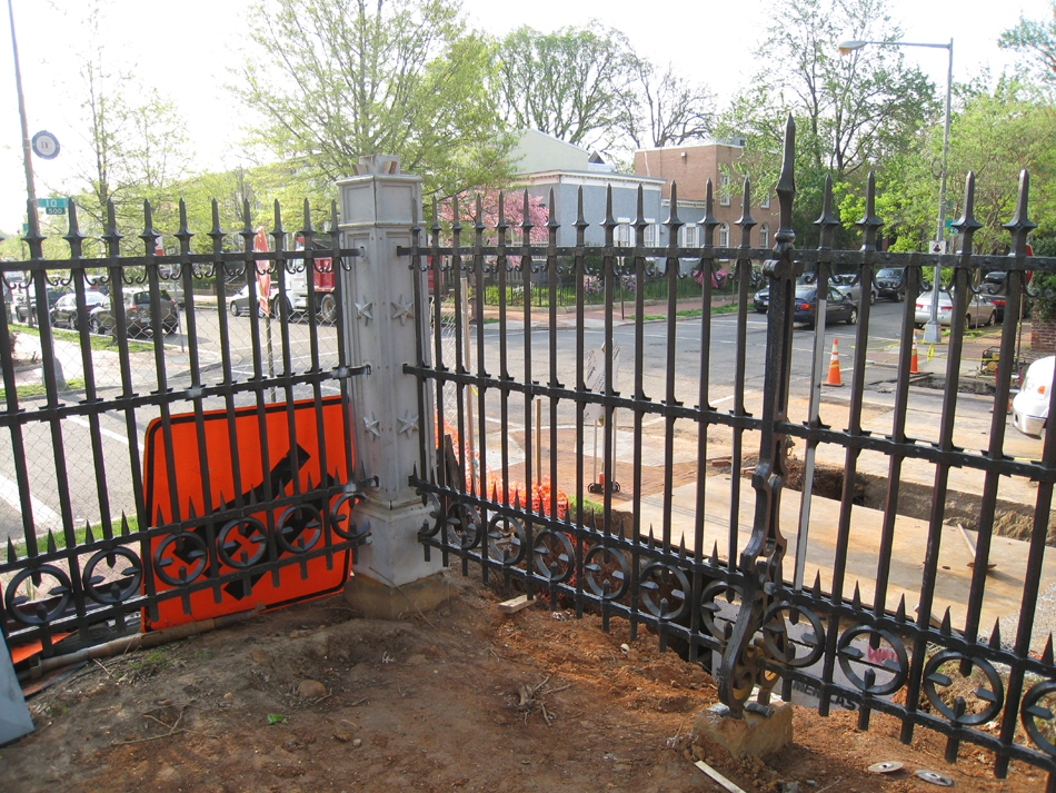 Fence--Looking out toward the corner of Tenth and E Streets SE - April 20, 2011